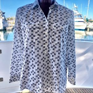 Madewell White Long Sleeve shirt w grey squares